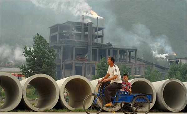 Fábrica de cemento en Baokang, China.