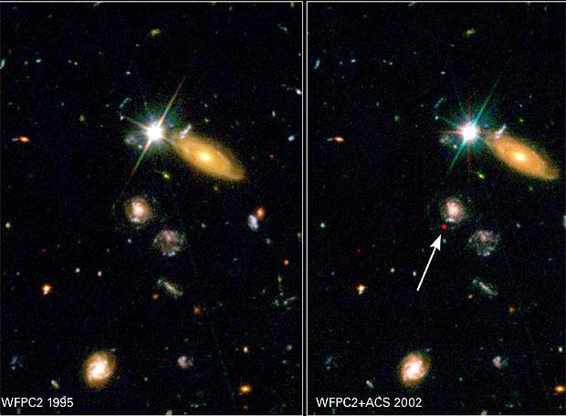 La supernova SN2002dd es una de las más lejanas descubiertas y nos muestra una época del pasado en la que aún dominaban los efectos gravitatorios (atracción) sobre los de la energía oscura (repulsión). A la izqda. se muestra una imagen de la misma región del cielo tomada en 1995, siete años antes de la explosión de la supernova.- NASA / HST