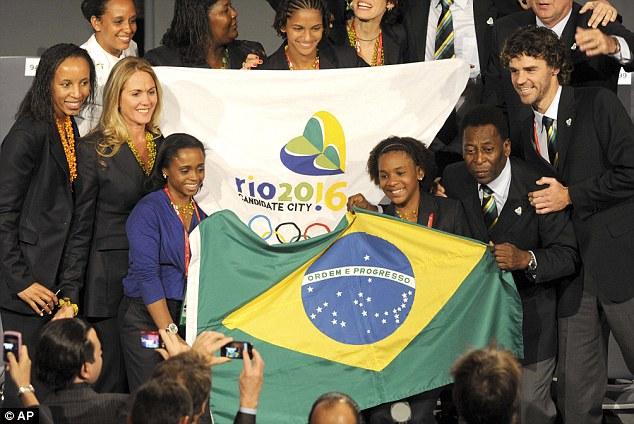 La delegación de Brasil posando para los fotógrafos